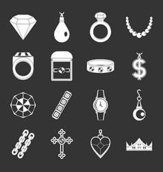 Jewelry items icons set grey vector