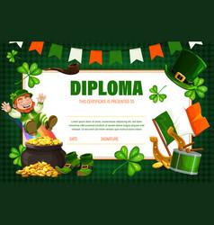 Kids certificate diploma with irish leprechaun vector