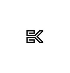 letter e and k logo design concept vector image