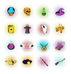 Magic comics icons vector