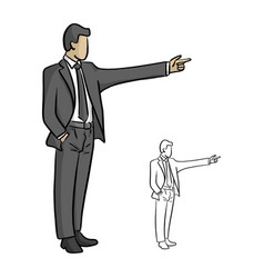 male businessman pointing to the blank space vector image