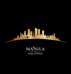 Manila philippines city skyline silhouette black vector