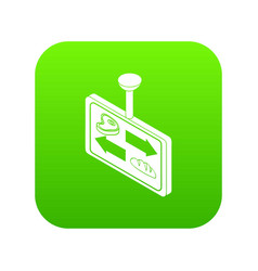 Meat bread sector direction icon green vector