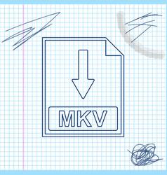 mkv file document icon download mkv button line vector image