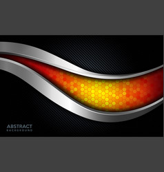 Modern abstract orange tech with silver line and vector