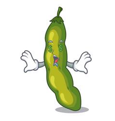 Money eye green beans pod isolated on mascot vector