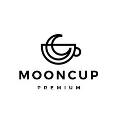 moon cup coffee tea monoline outline logo icon vector image