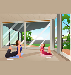 mother daughter doing yoga at home vector image