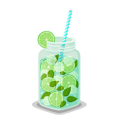 mug with refreshing drink mojito cocktail straw vector image