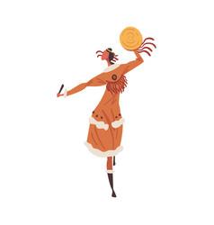 native american indian ritual dance indian woman vector image