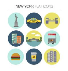 New york flat icon set vector