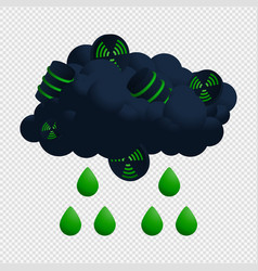 Nuclear cloud and rain radioactive icon with vector