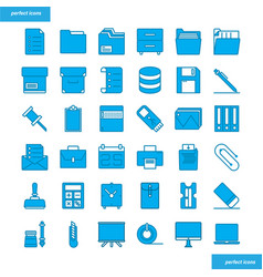 office supply blue icons set style vector image