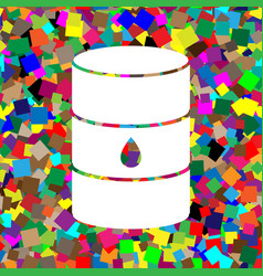 oil barrel sign white icon on colorful vector image
