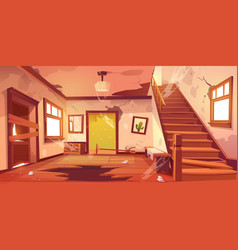 Old abandoned house hallway at daytime vector