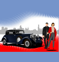 old car with businessmen couple vector image