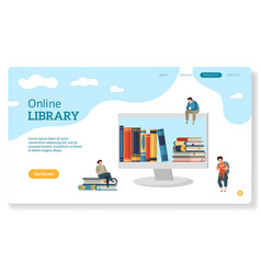 Online library website page for landing books vector