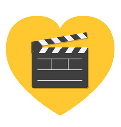 open movie clapper board template icon flat vector image