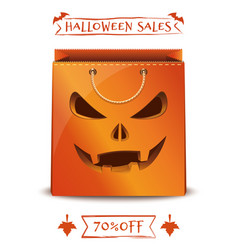 Orange paper shopping bag for halloween big sale vector