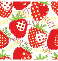 Patchwork strawberry seamless vector image