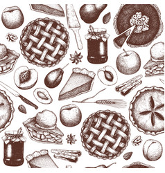 Pattern with vintage baking vector