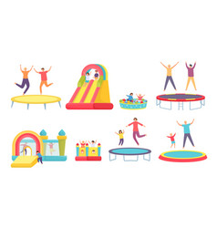 People jump on trampoline happy adults kids vector