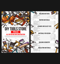 Price poster house repair sketch work tool vector