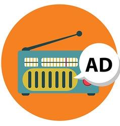 Radio icon with ad sign marketing vector
