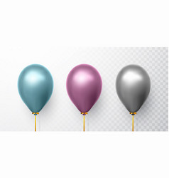realistic blue purple and gray balloons vector image