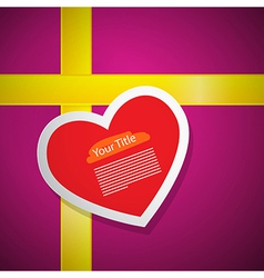 Red Heart on Pink Gift Box Cover with Yellow vector