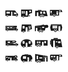 RV cars campers icons vector