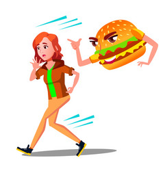 Scared teen girl runing away from hamburger vector