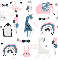 seamless childish pattern with cute giragge vector image