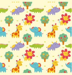Seamless pattern wild animal vector