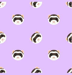 Seamless pattern with cute ferret muzzle vector