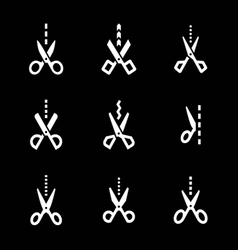 set icons scissors with cut line vector image