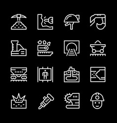 Set line icons of mining vector