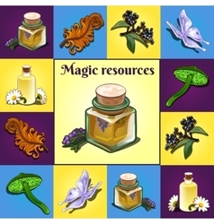 Set magic components items and ingredients vector