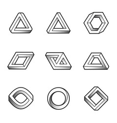 Set of impossible shapes web design elements vector