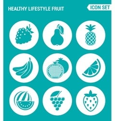 set of round icons white Healthy lifestyle fruit vector image