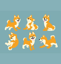Shiba inu cartoon set vector