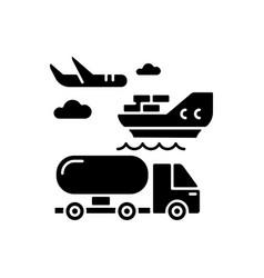 Shipping black glyph icon vector