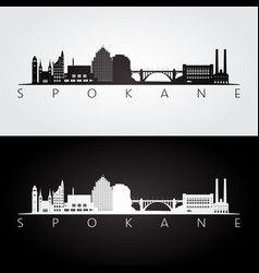 spokane washington - usa skyline and landmarks vector image