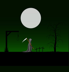 spooky background with grim reaper vector image