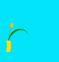 still life tulip yellow with bright colored vector image