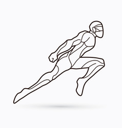 Superhero flying action cartoon vector