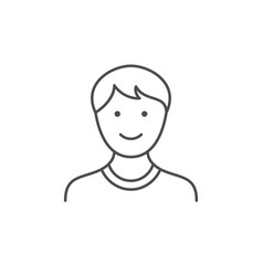 Teenager boy line outline icon vector