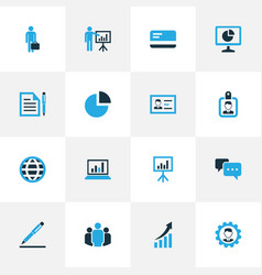 Trade colorful icons set collection of analytics vector