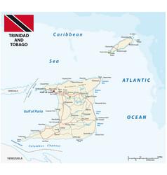 trinidad and tobago road map with flag vector image