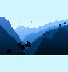 Twilight in mountain forest vector